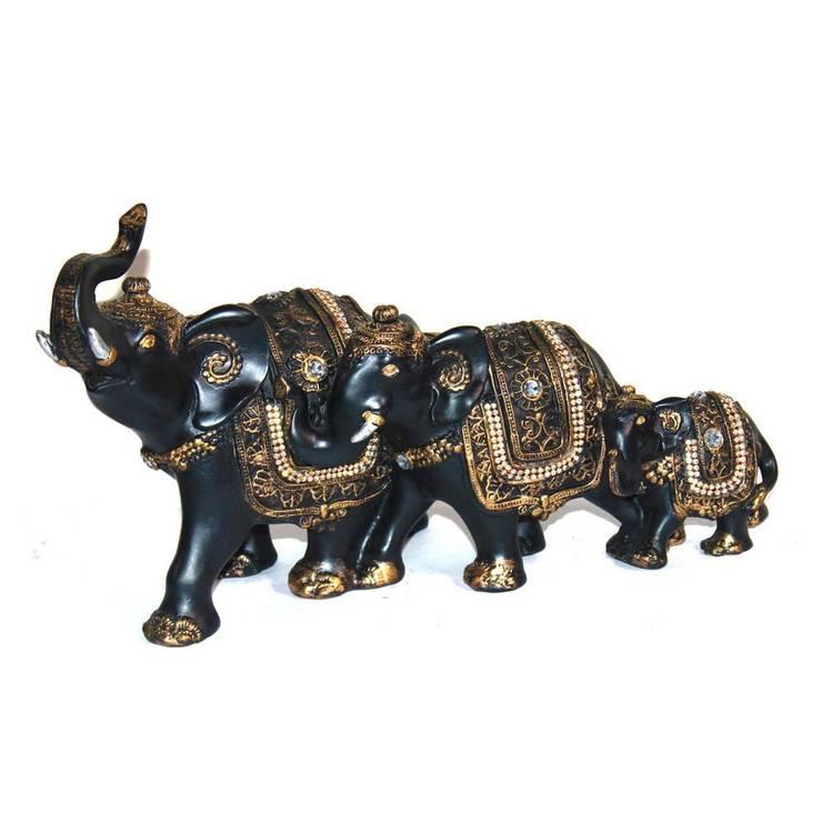 Decorative Polyresin Elephant Family Figurines:  Artwork by M4design