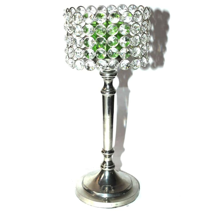 Crystal & Green Glass Cylinder Candle Holders:  Household by M4design