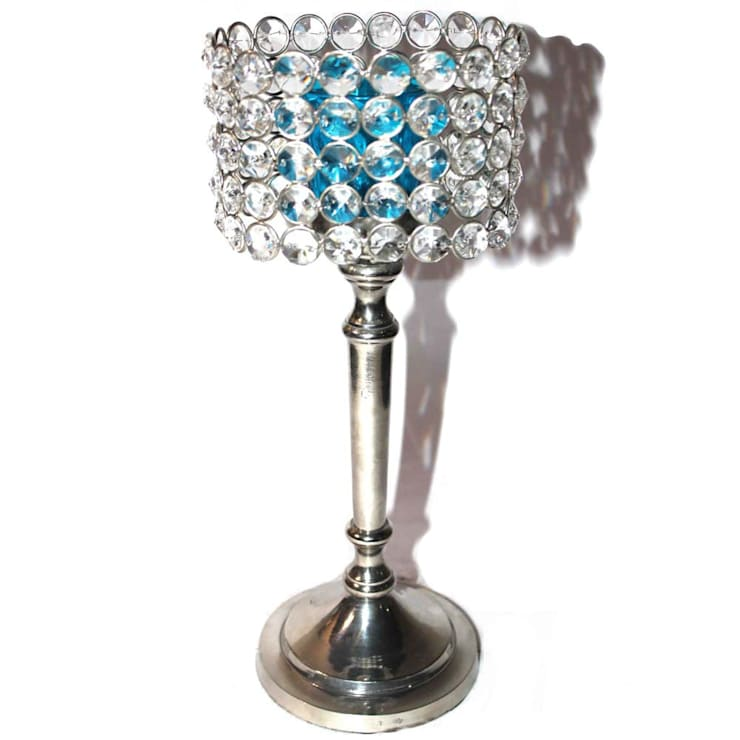 Crystal & Blue Glass Cylinder Candle Holders:  Household by M4design