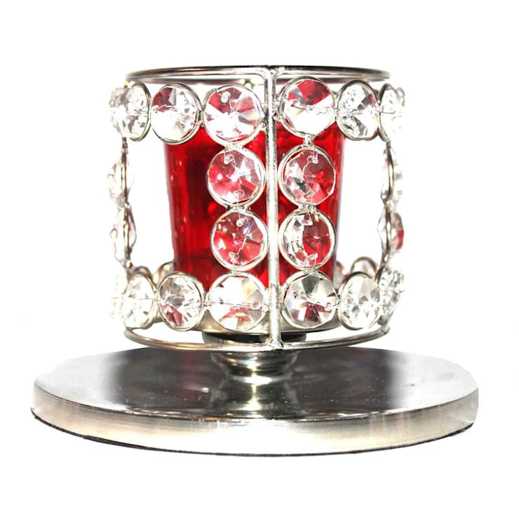 Crystal Beaded Red Glass Tealight Candle Holder:  Household by M4design
