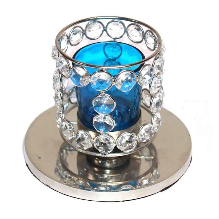 Crystal Beaded Blue Glass Tealight Candle Holder:  Kitchen by M4design