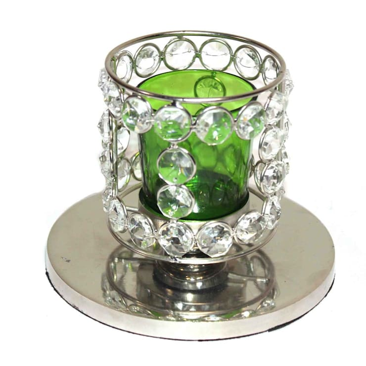 Crystal Beaded Green Glass Tealight Candle Holder: asian  by M4design,Asian