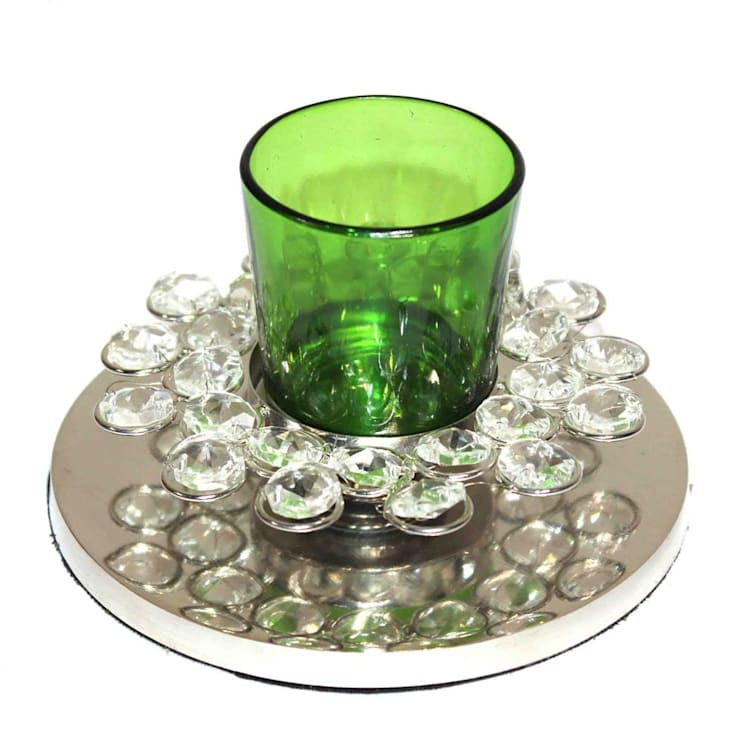 Crystal Decor Green Glass Votive Tealight Holders:  Household by M4design