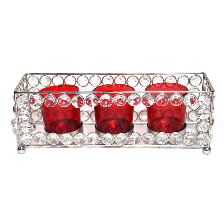 Crystal Frame Triple Red Glass Tealight Holders:  Household by M4design