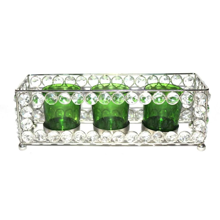Crystal Frame Triple Green Glass Tealight Holders:  Household by M4design