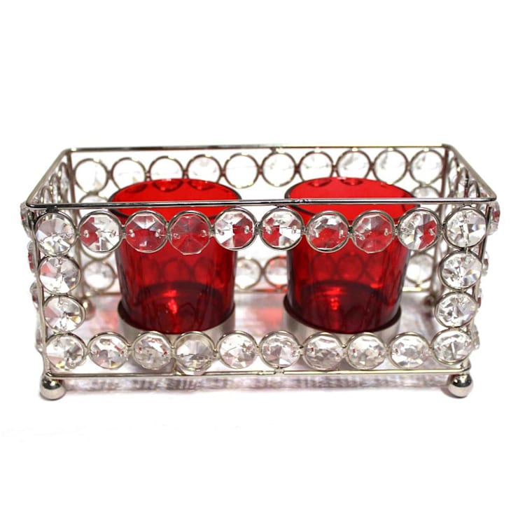 Crystal Frame Double Red Glass Candle Holders:  Household by M4design