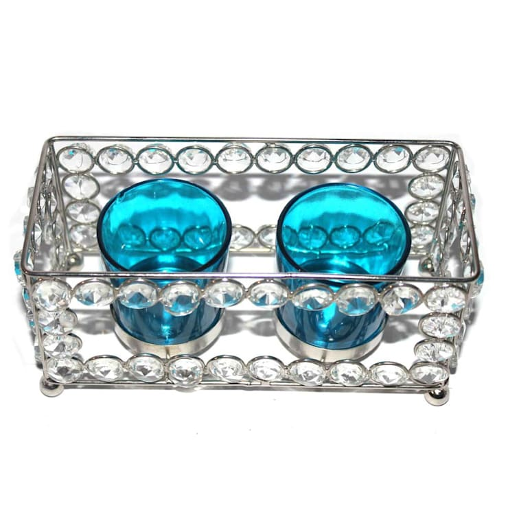 Crystal Frame Double Blue Glass Candle Holders:  Household by M4design
