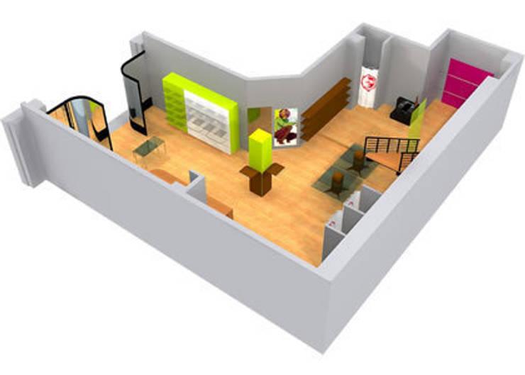 Mobilier sur-mesure en polystyrène résiné: Locaux commerciaux & Magasins de style  par Christophe Herry Design