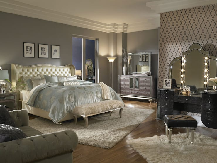 Queen Upholstered Bed white:  Bedroom by Royz Furniture