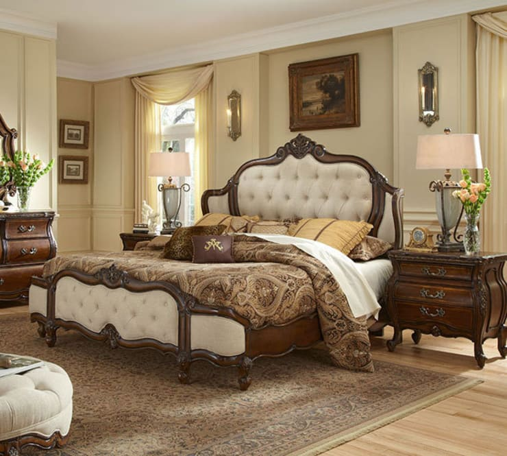 Lavelle King Wing Mansion Bed Brown:  Bedroom by Royz Furniture