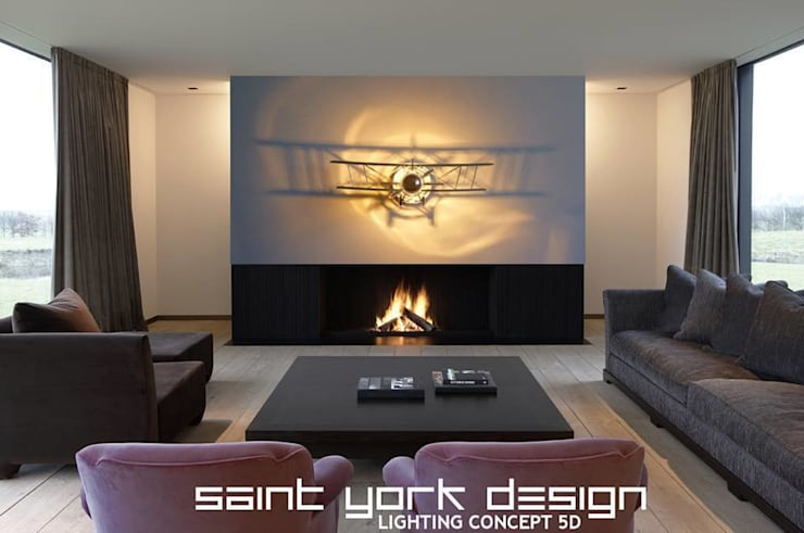 LUMINAIRES DESIGN: Salon de style  par SAINT YORK DESIGN