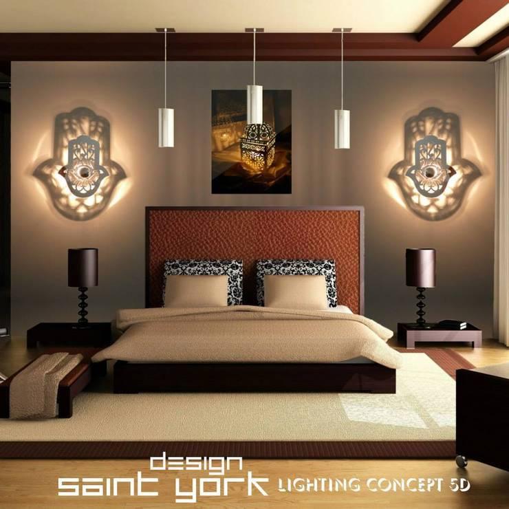 LES LUMINAIRES SAINT YORK DESIGN: Chambre de style  par SAINT YORK DESIGN