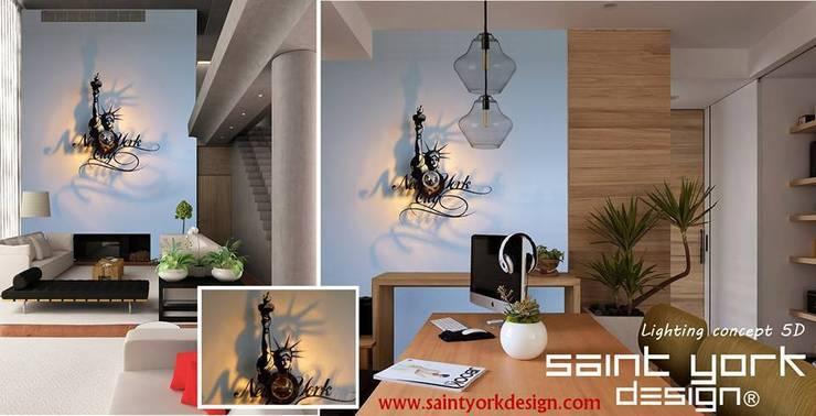 LES LUMINAIRES SAINT YORK DESIGN: Salon de style  par SAINT YORK DESIGN