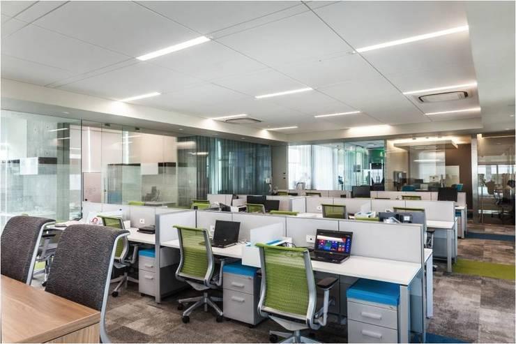Área trabajo común en oficinas: Estudios y oficinas de estilo  por Ofis Design