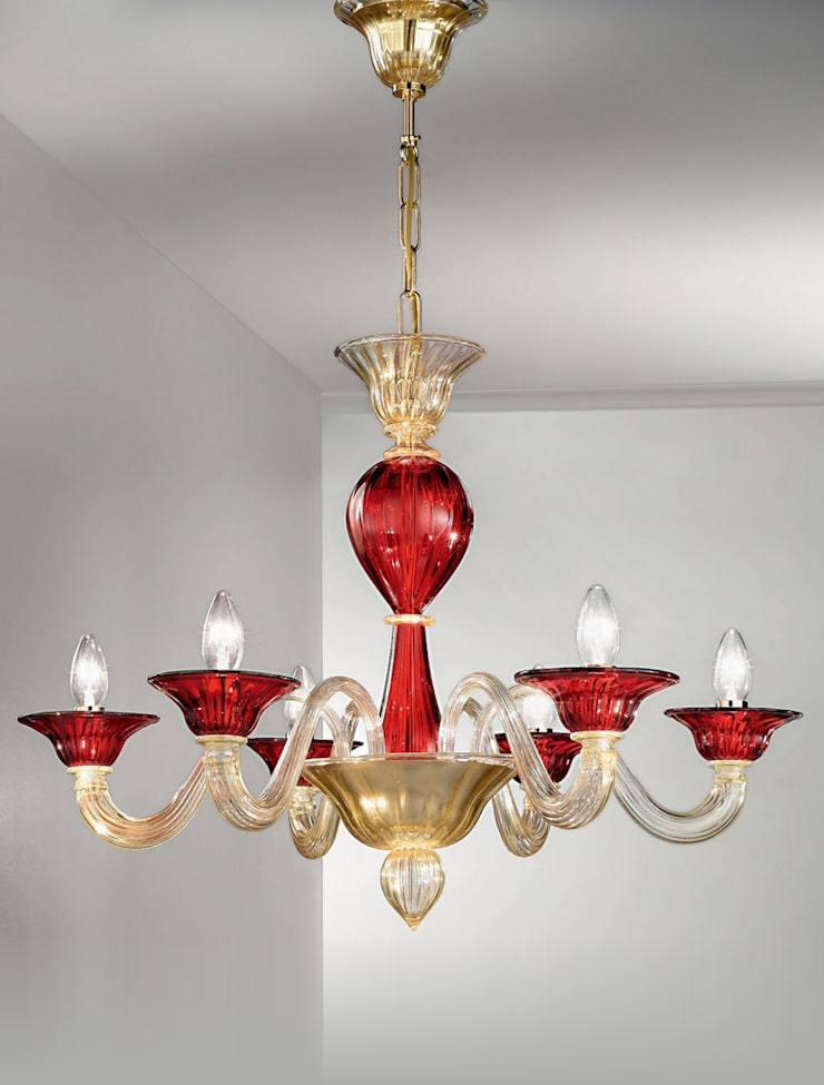 Lampadario in vetro di Murano Vetrilamp: Arte in stile  di Vetrilamp