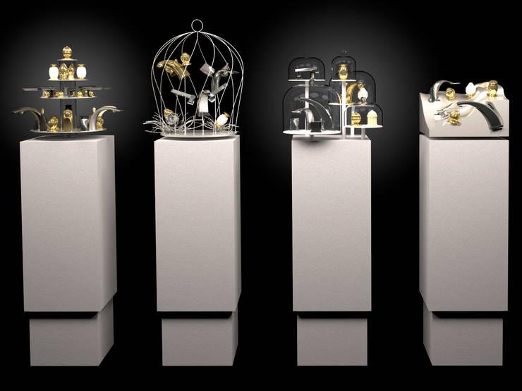 4 présentoirs  pour exposition d'objets: Maison de style  par ColineMonnier Design