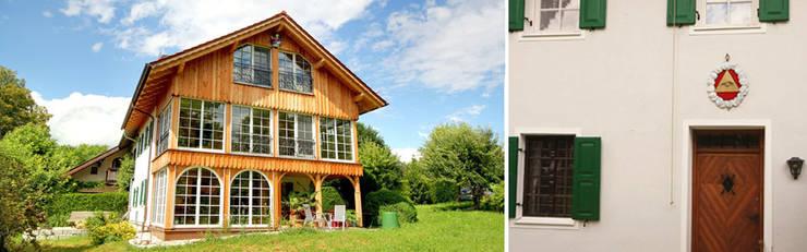 Gartenansicht und Blick auf den Eingang:  Wohnzimmer von Planungsbüro Schilling,