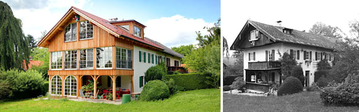 Ansicht von Nordosten vor und nach Sanierung:  Wohnzimmer von Planungsbüro Schilling,