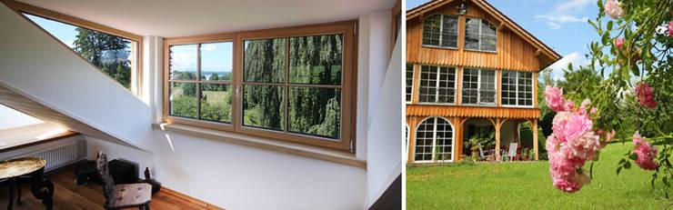 Gaube mit Blick zum Starnberger See und Gartenansicht:  Wohnzimmer von Planungsbüro Schilling,
