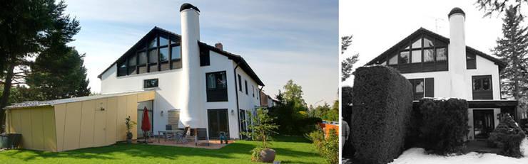 Gartenansicht vor und nach Sanierung: moderne Häuser von Planungsbüro Schilling