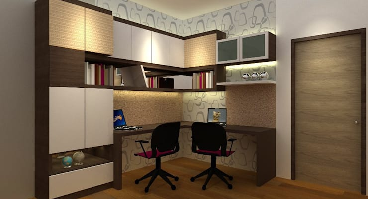 Study Room :  Study/office by Neeras Design Studio