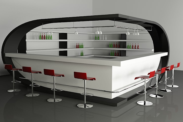 Bar Counter :  Commercial Spaces by Neeras Design Studio