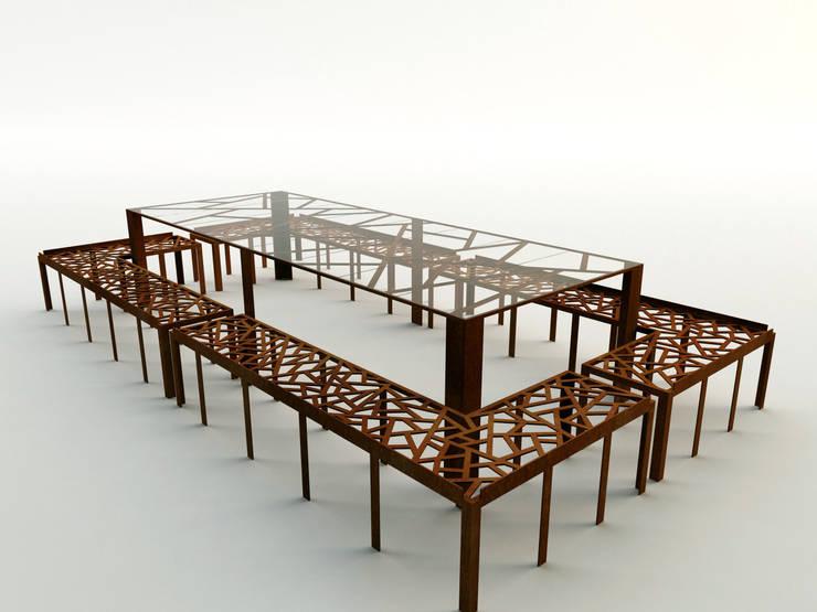 Tavolo in acciaio corten e vetro a seduta unica:  in stile  di Design art, Moderno