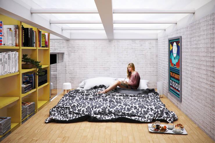 Camera da letto_Soppalco: Soggiorno in stile  di bytheways ,