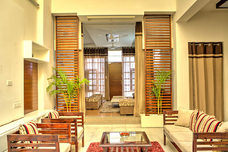 Lobby area: modern Houses by Studio An-V-Thot Architects Pvt. Ltd.