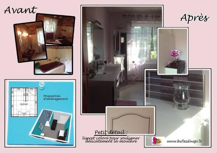www.bullesdinspi.fr - Florence Fémelat Décoration - rénovation d'une salle de bains: Salle de bains de style  par Bulles d'Inspi
