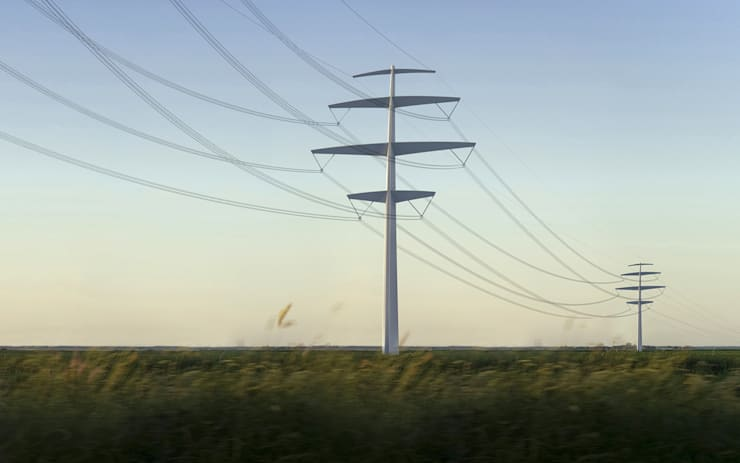 Pylône Synergie pour ligne électrique RTE:  de style  par CONCEPT FRENOY DESIGN