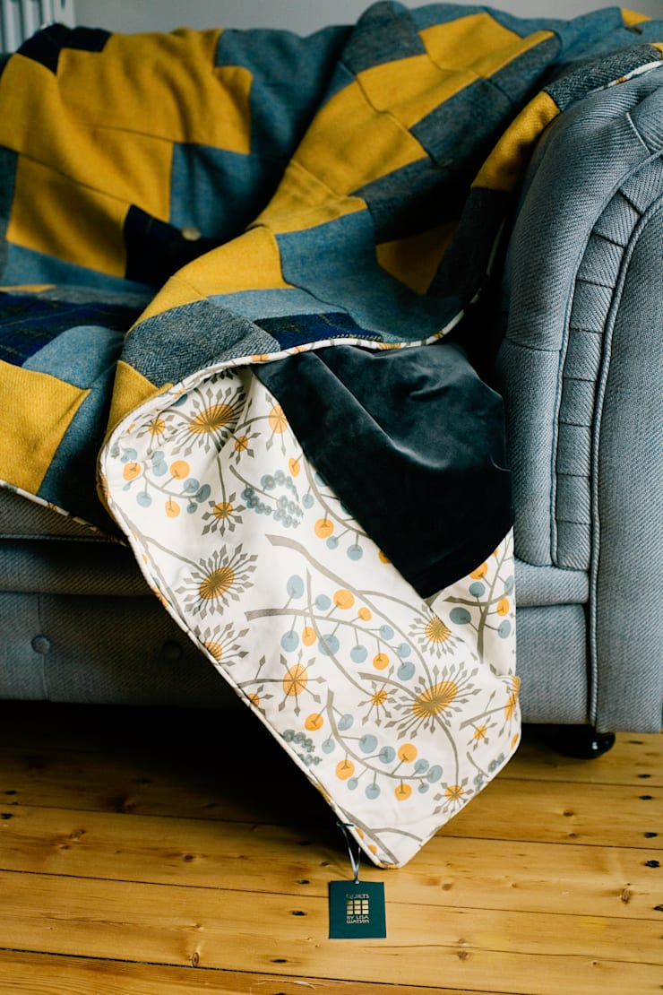 Retro d.grey velvet with sunshine yellow, grey and n.blue tartan H.Tweed quilt:  Bedroom by Quilts by Lisa Watson