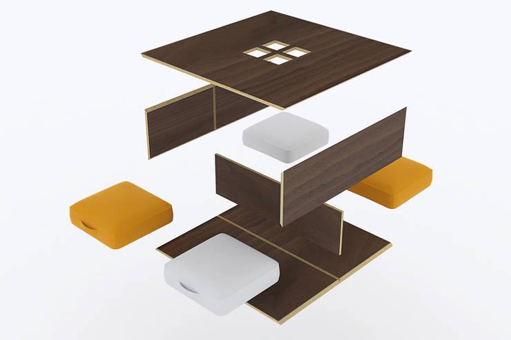 Table basse éco-conçue +4: Salon de style  par  Johann Paquelier