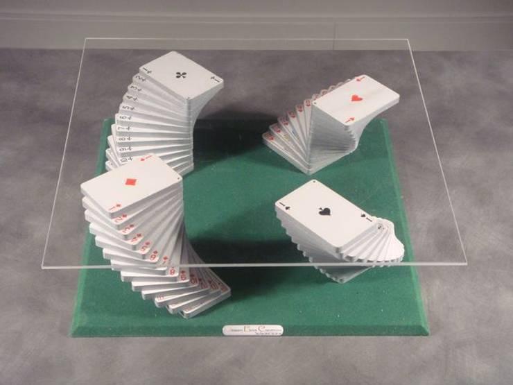 Table basse jeu de cartes: Salon de style  par Design Bois Creation