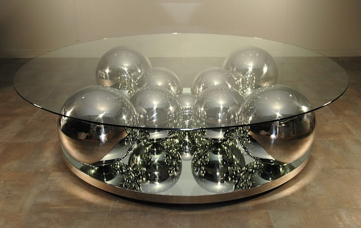Table basse Boules inox: Salon de style  par Design Bois Creation