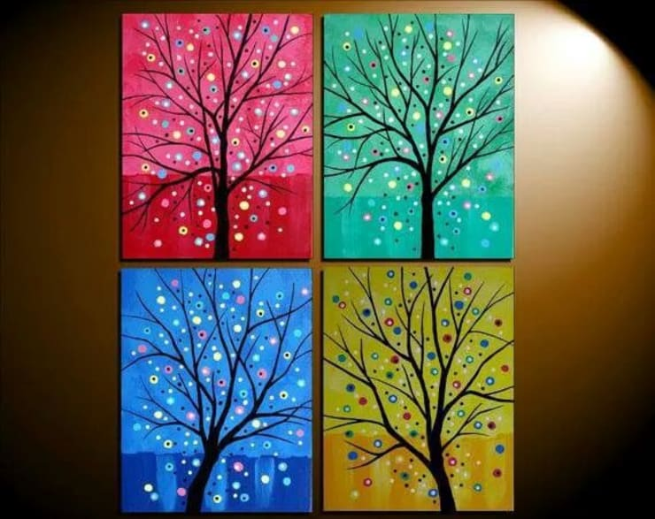 Split paintings for staircase walls and larger living room walls:   by SHEEVIA  INTERIOR CONCEPTS