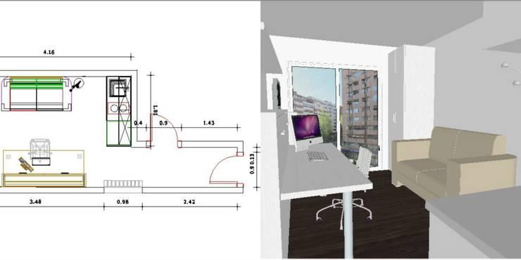 Habitación-estudio cosmo:  de estilo  de Sofás Camas Cruces