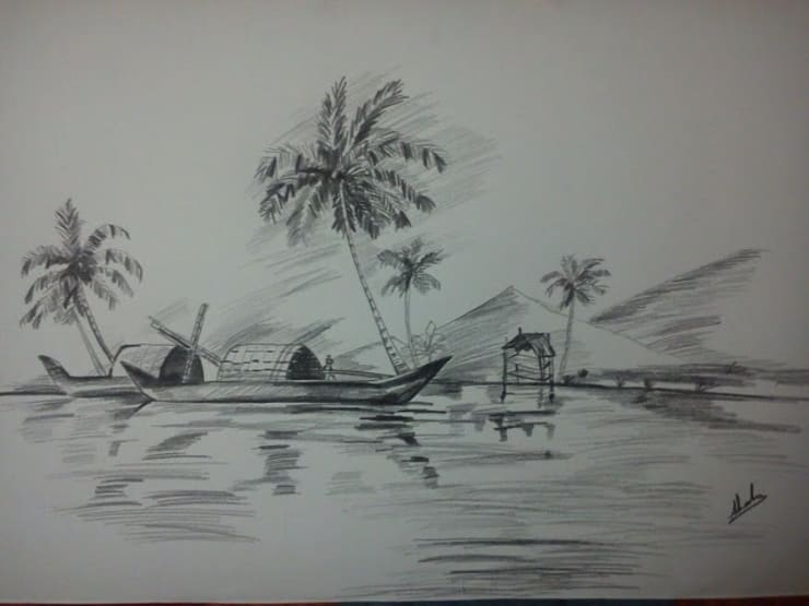 Charcoal and pencil art works for colonial style interiors:  Artwork by SHEEVIA  INTERIOR CONCEPTS,
