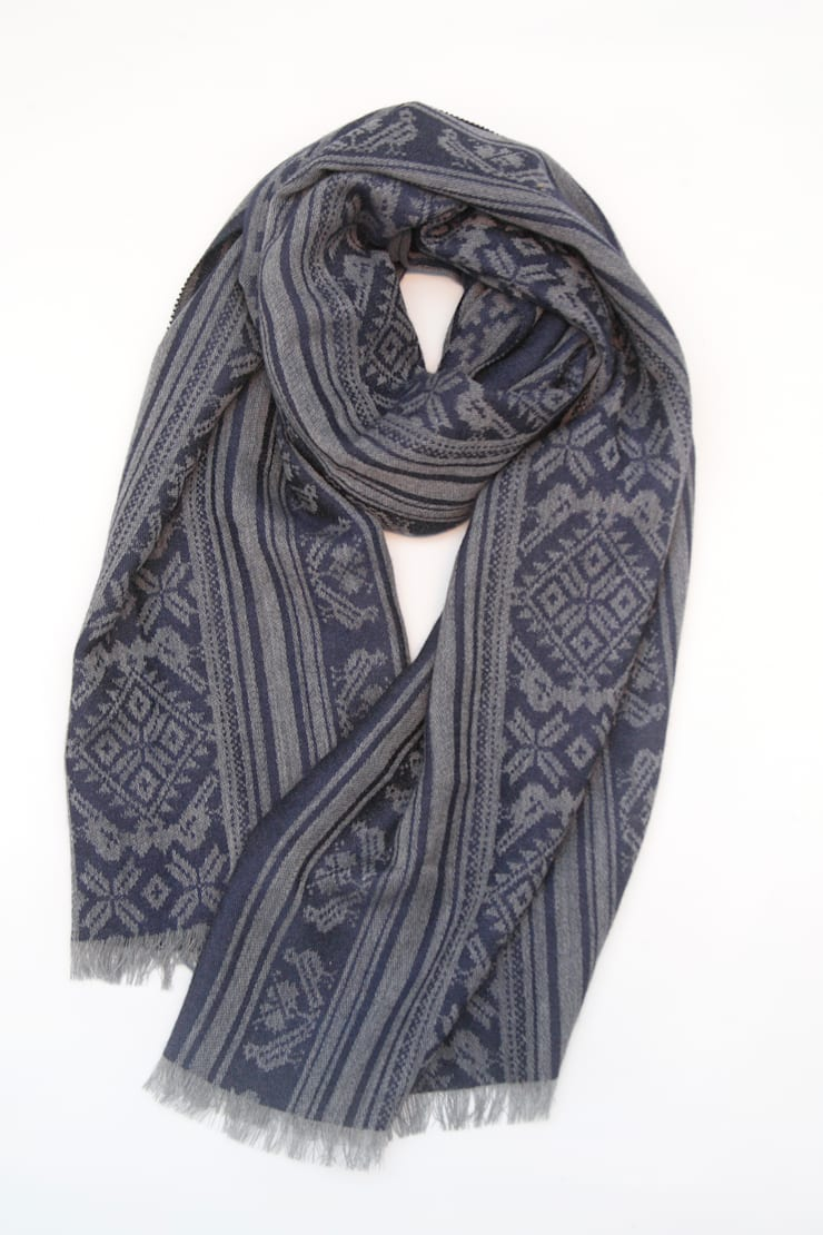 Hungarica :: Mens Cashmere Scarf :: Grey / Navy  :  Dressing room by Julia Brendel Limited