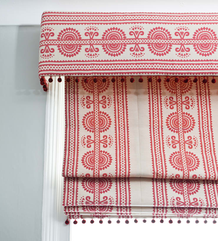 Kurpie :: Fabric :: Red:  Living room by Julia Brendel Limited