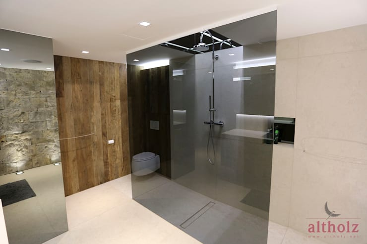 5.2Privathaus Kremstal:  Badezimmer von altholz, Baumgartner & Co GmbH,Modern