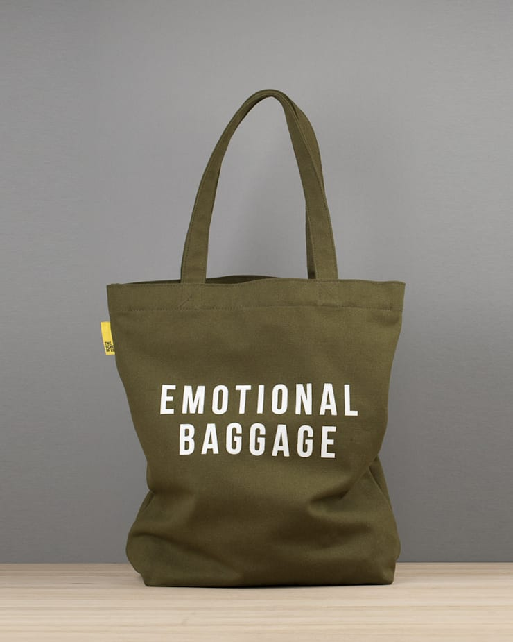Emotional baggage canvas tote:  Dressing room by An Artful Life