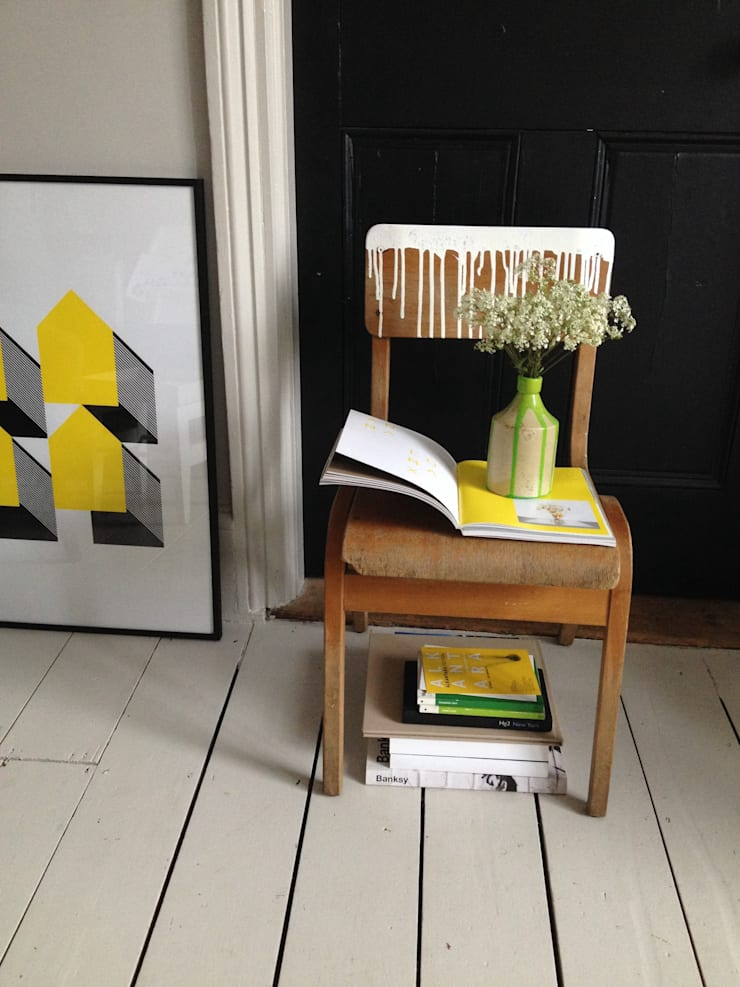 Vintage school chair with painted drips:  Household by An Artful Life