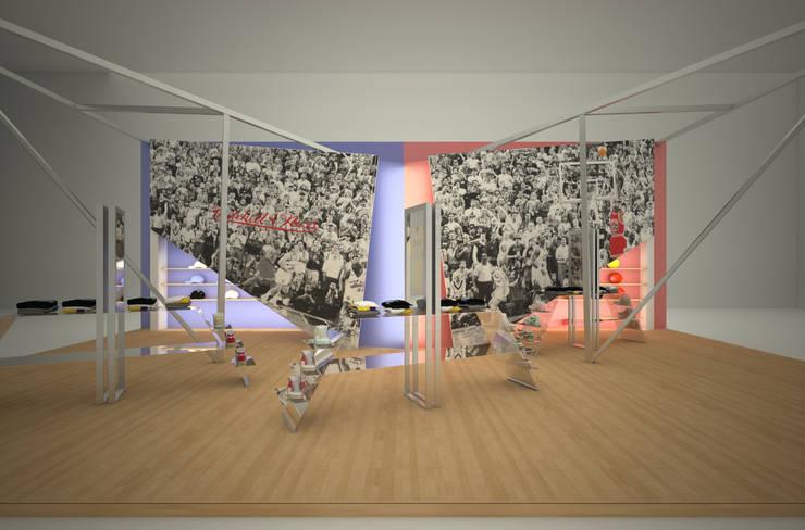 Stoisko wystawowe marki Mitchell&Ness: styl , w kategorii Centra wystawowe zaprojektowany przez QCA ,Nowoczesny