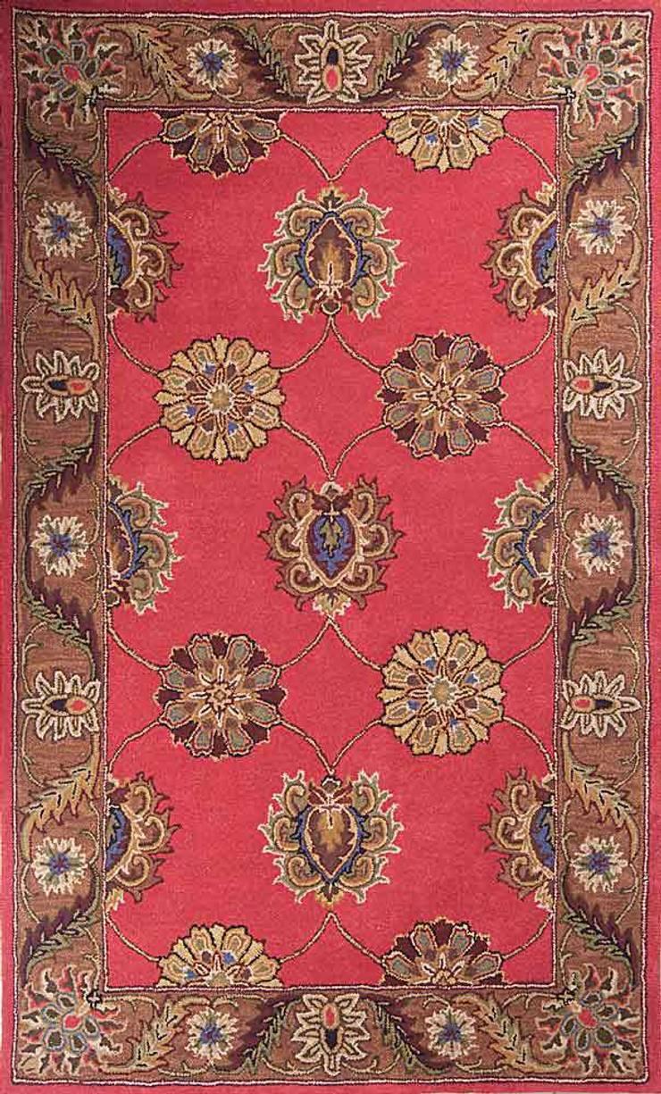 Oriental persian area rug handmade Red Brown carpet:  Living room by Midas craft