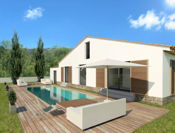 Maison individuelle, Saint-Tropez (83), 2014 - Réhabilitation - 100 m²: Maisons de style  par ERIC SANTOS • ARCHITECTURE