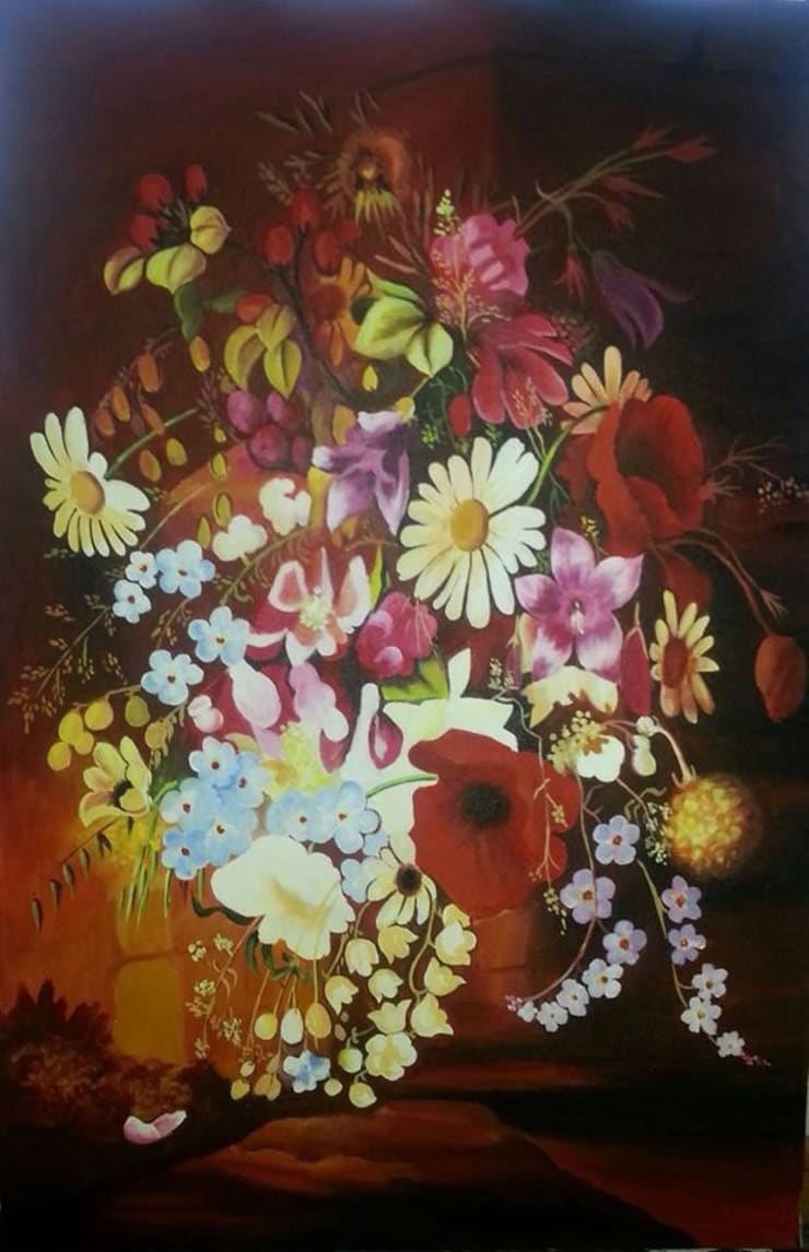 Colourful floral arts:  Artwork by SHEEVIA  INTERIOR CONCEPTS