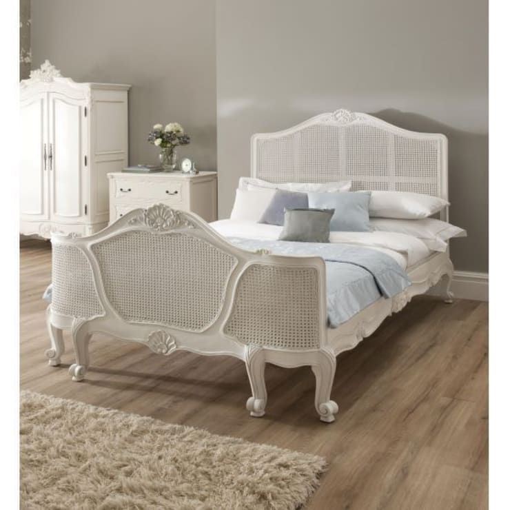 La Rochelle Rattan Antique French Bed:  Bedroom by Homesdirect365