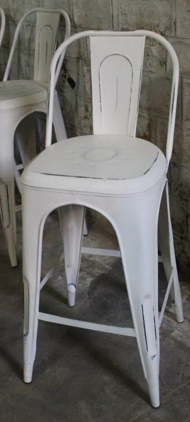 Weißer Küchenbarhocker aus Metall:  Küche von Guru-Shop,