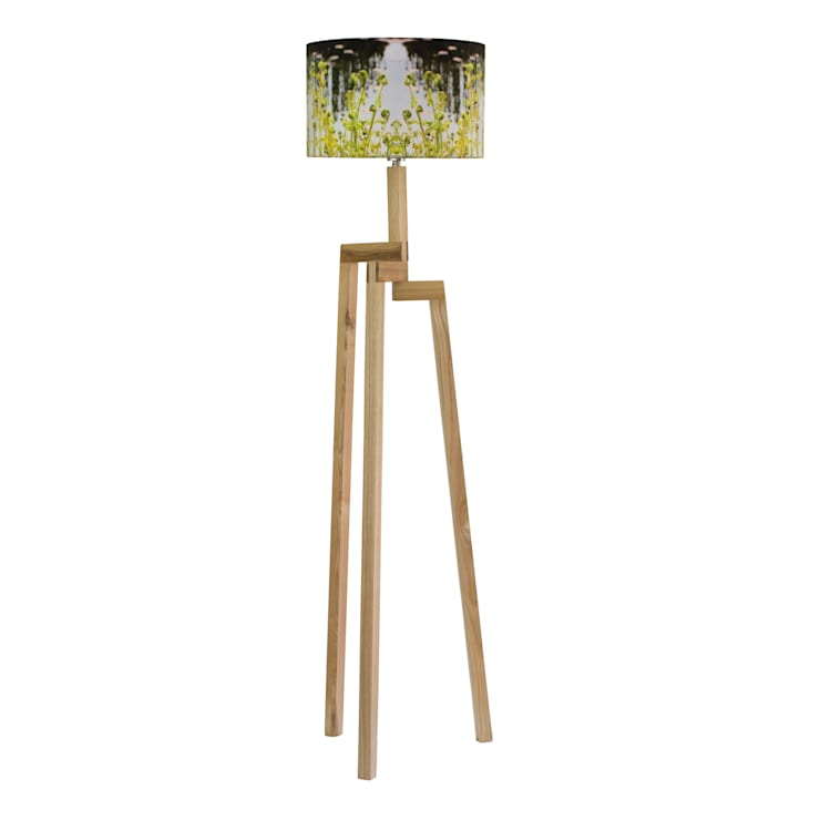 Handmade Fern Lampshade and Rubberwood Floor Lamp:  Living room by For All We Know